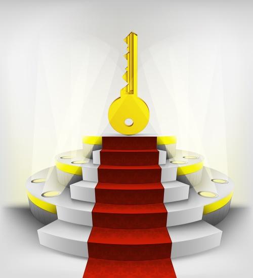 key to success exhibition on round illuminated podium vector